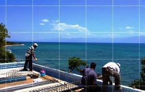 De bewapening van het beton voor het dak