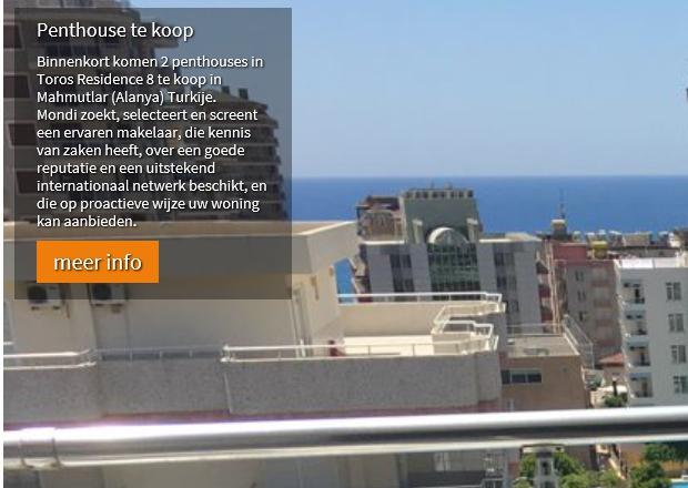 Binnenkort komen 2 penthouses in Toros Residence 8 te koop in Mahmutlar (Alanya) Turkije.